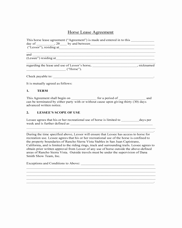 Horse Lease Agreement Templates Best Of Sample Horse Lease Agreement Edit Fill Sign Line