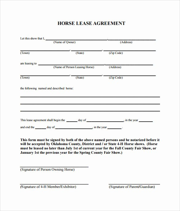 Horse Lease Agreement Templates Elegant Sample Horse Lease Agreement 9 Free Documents In Pdf Word