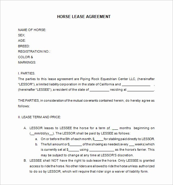 Horse Lease Agreement Templates Fresh 11 Lease Contract Templates Free Word Pdf Documents