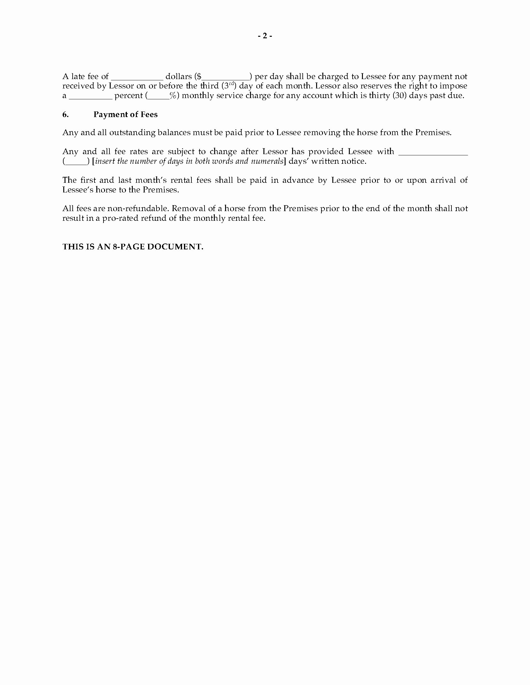 Horse Lease Agreement Templates Fresh Texas Horse Boarding and Stall Lease Agreement