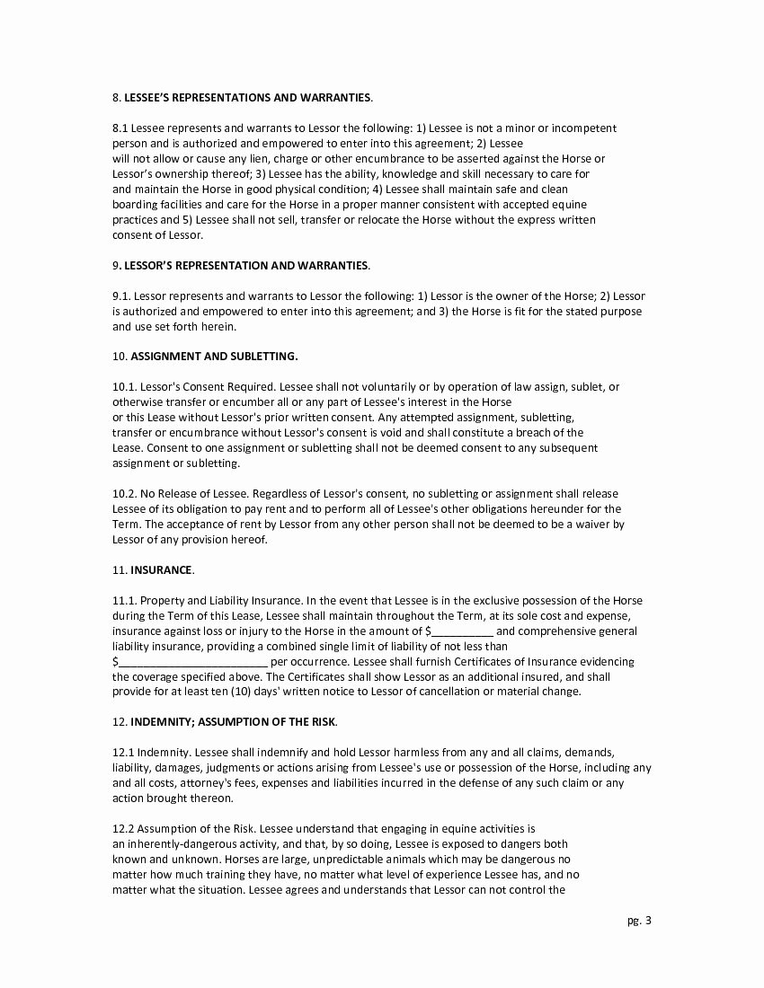 Horse Lease Agreements Template Awesome Download Free Full Time Horse Lease Agreement Printable
