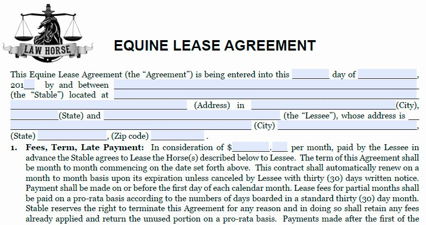Horse Lease Agreements Template Elegant Horse Half Lease Agreement Contract