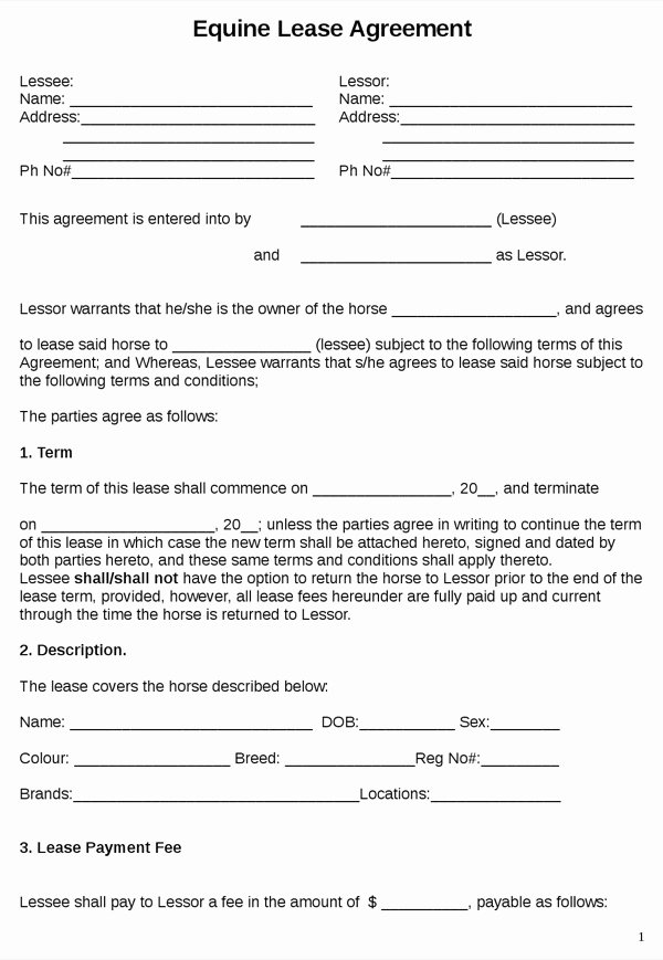 Horse Lease Agreements Template Inspirational Download Equine Lease Agreement for Free formtemplate