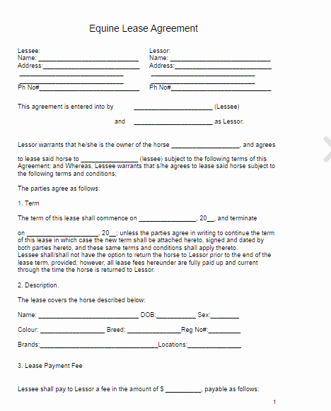Horse Lease Agreements Template Inspirational Horse Lease Agreement