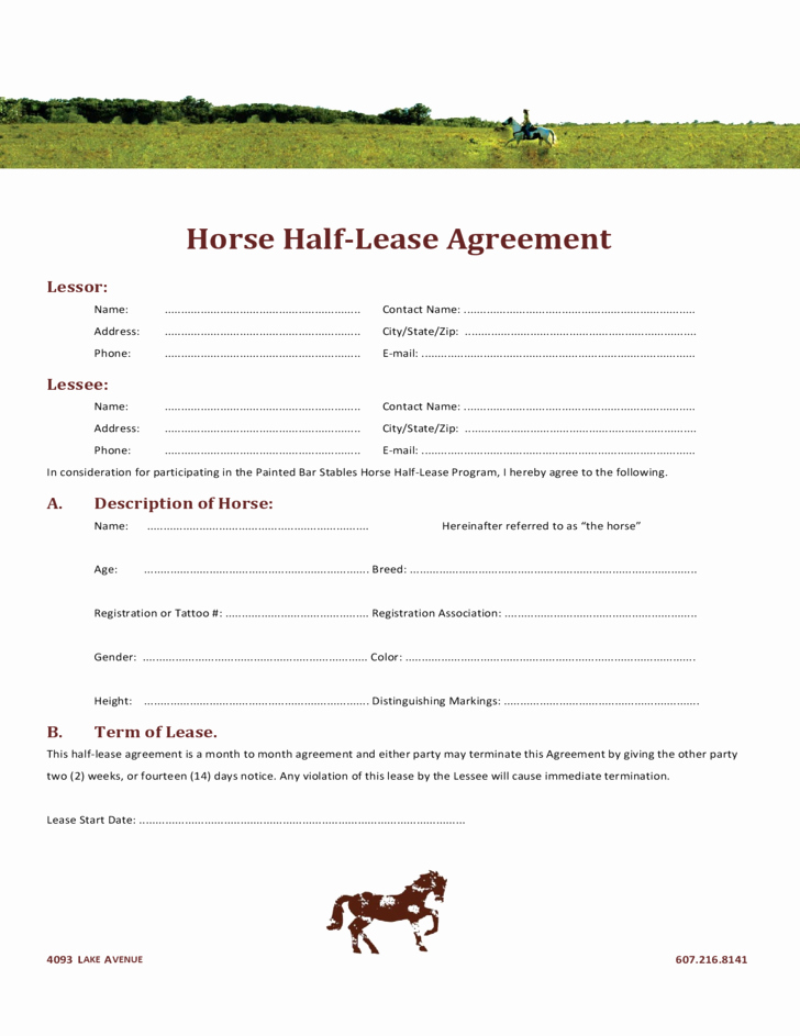 Horse Lease Agreements Template Lovely Horse Half Lease Agreement Free Download