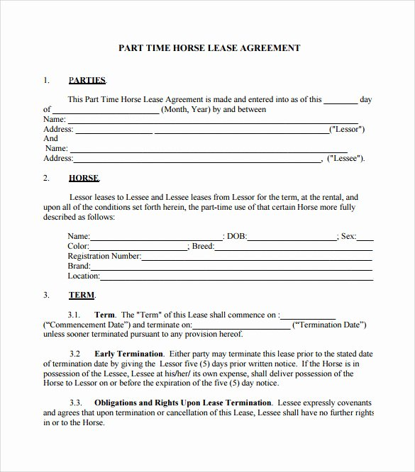 Horse Lease Agreements Template Lovely Sample Horse Lease Agreement 7 Documents In Pdf