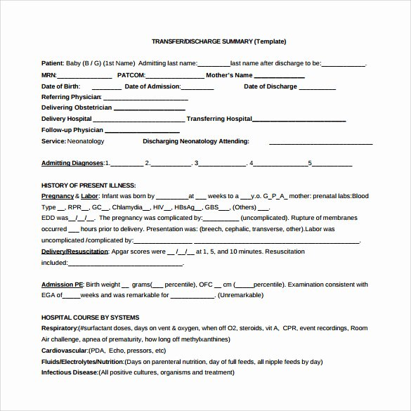 Hospital Discharge form Template Best Of 29 Of Summary form Template