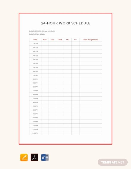Hourly Schedule Template Word Lovely Free 24 Hour Work Schedule Template Download 382