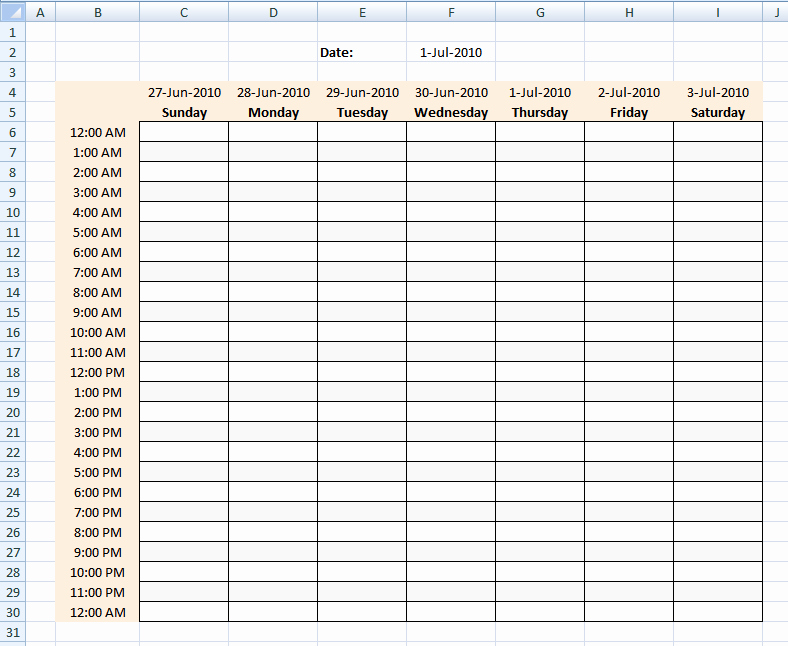 Hourly Schedule Template Word Unique Hourly Schedule Template Excel Template