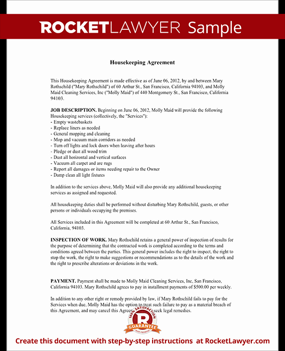 House Cleaning Contract Template Awesome Housekeeping Contract Agreement Template with Sample