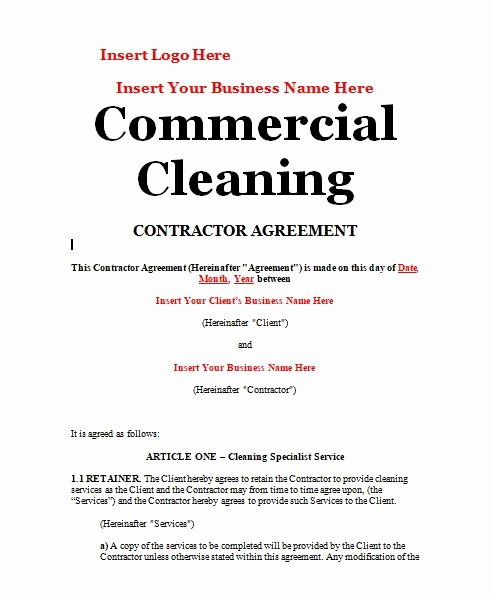 House Cleaning Contract Template Beautiful Cleaning Contract