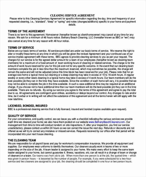 House Cleaning Contract Template Best Of 13 Sample Cleaning Contract Agreement Templates Word Docs