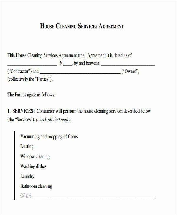 House Cleaning Contract Template Best Of 51 Sample Contract Templates Pages Docs Word