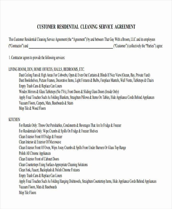 House Cleaning Contract Template Fresh 38 Contract Templates In Pdf