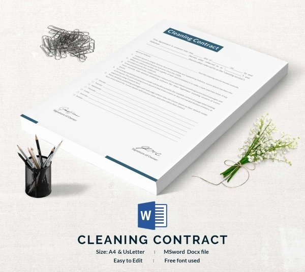 House Cleaning Contract Template Fresh Cleaning Contract Template 27 Word Pdf Documents