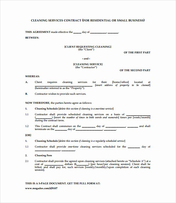 House Cleaning Contract Template New Cleaning Contract Template 9 Download Documents In Pdf