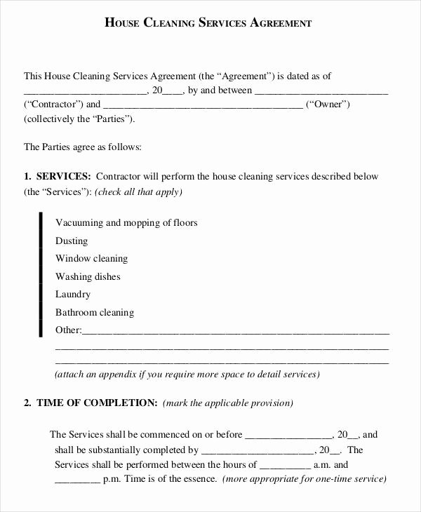 House Cleaning Contract Template Unique 55 Basic Contract Templates Docs Word Pages