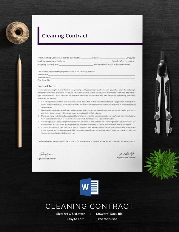 House Cleaning Contract Template Unique Cleaning Contract Template 27 Word Pdf Documents