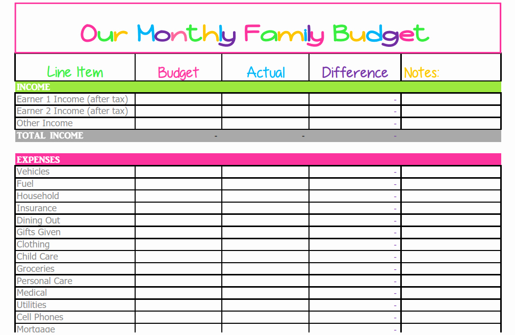 Household Budget Template Printable Best Of Free Monthly Bud Template Cute Design In Excel