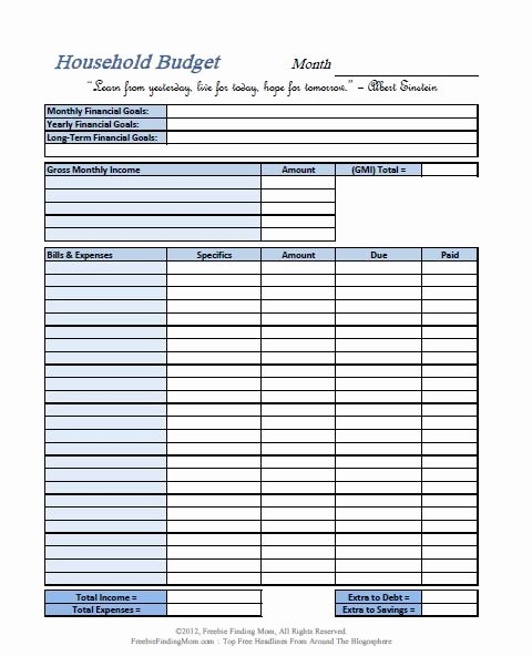 Household Budget Template Printable Unique Free Printable Bud Worksheets – Download or Print
