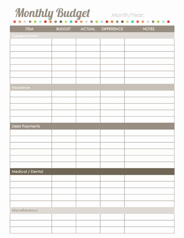 Household Budget Template Printable Unique Home Finance Printables the Harmonized House Project