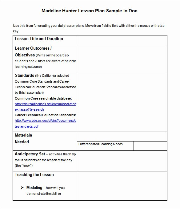 Hunter Lesson Plan Template Awesome Lesson Plan Template – 43 Free Word Excel Pdf format