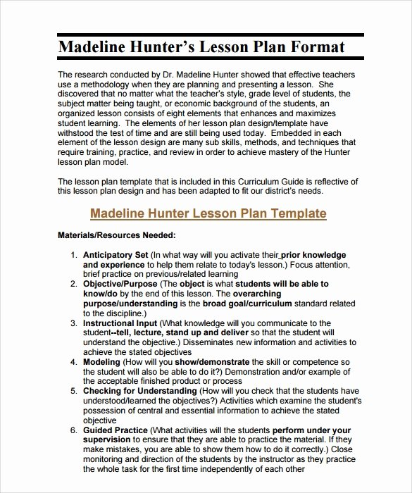 Hunter Lesson Plan Template Awesome Sample Madeline Hunter Lesson Plan – 11 Documents In Pdf
