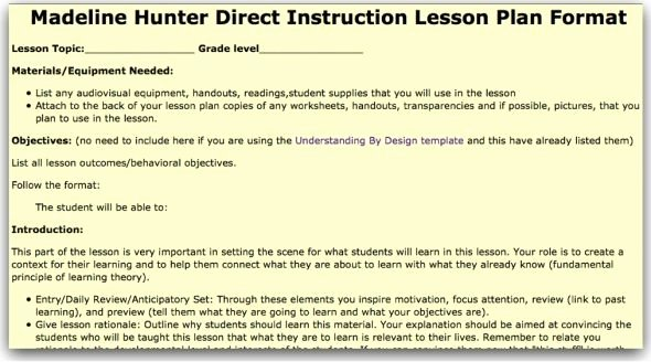 Hunter Lesson Plan Template Best Of Madeline Hunter Lesson Plan Template Model