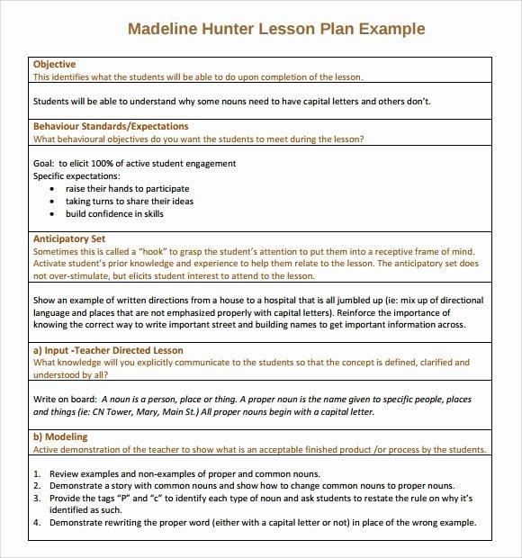Hunter Lesson Plan Template Lovely Madeline Hunter Lesson Plan Template Word 2018