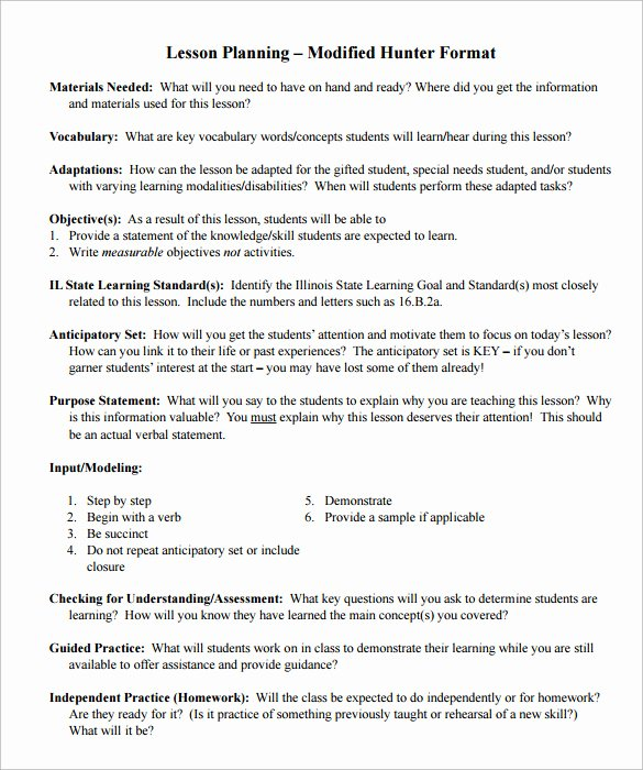 Hunter Lesson Plan Template New Sample Madeline Hunter Lesson Plan – 11 Documents In Pdf