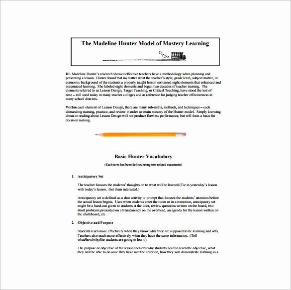 Hunter Lesson Plan Template Unique Learn Lesson Plan Template Fcps Yourpersonalgourmet