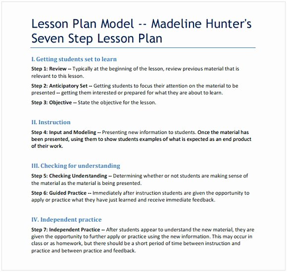 Hunter Lesson Plan Template Unique Madeline Hunter Lesson Plan Template