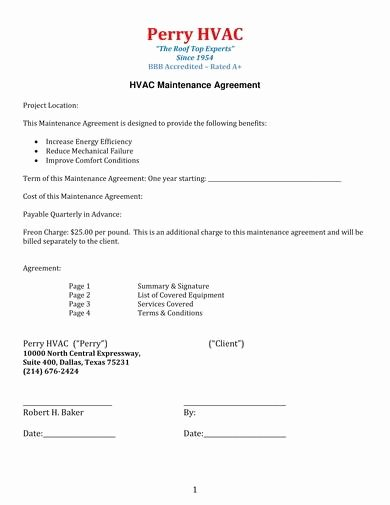 Hvac Maintenance Contract Template Beautiful Free 9 Hvac Maintenance Contract Samples In Pdf