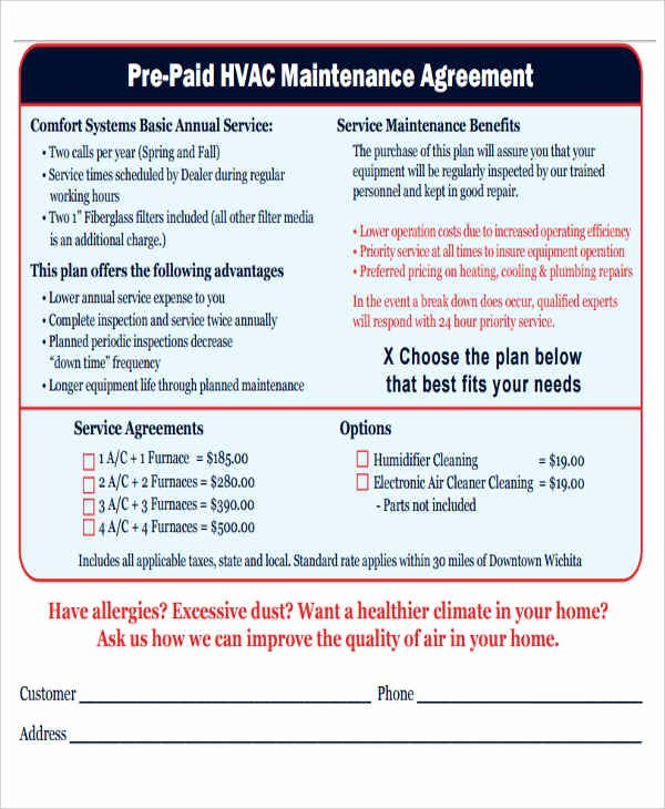 Hvac Maintenance Contract Template Fresh 12 Maintenance Agreement Free Word Pdf format Download