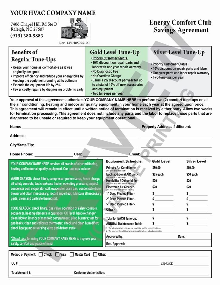 Hvac Maintenance Contract Template Fresh This Hvac Maintenance Contract Has A Backside Terms and