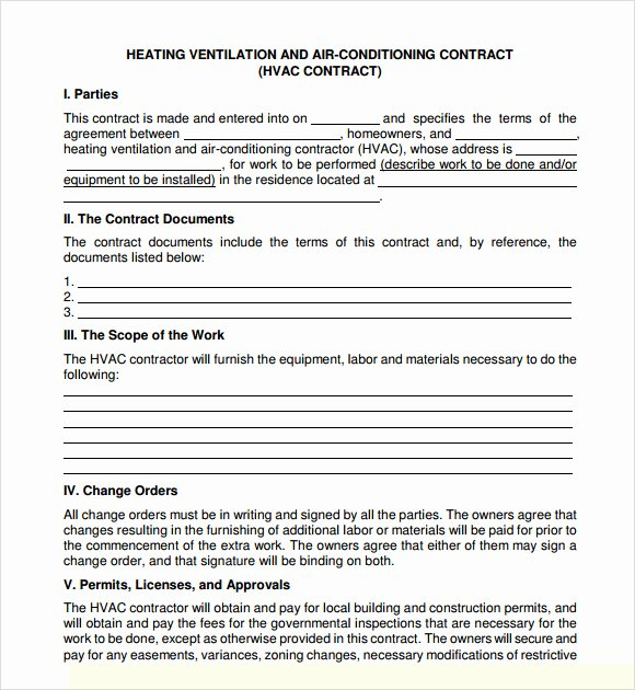 Hvac Maintenance Contract Template Lovely Hvac Preventive Maintenance Agreement Template Free