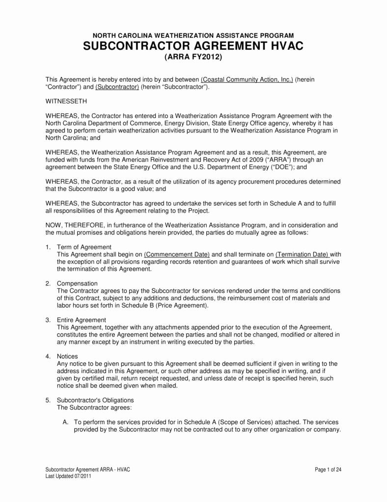 Hvac Maintenance Contract Template Unique 9 Hvac Contract Templates for Services Pdf Word