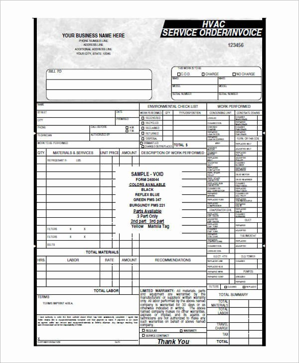 Hvac Service order Invoice Template Awesome 6 Hvac Invoice Templates Free Word Pdf format Download
