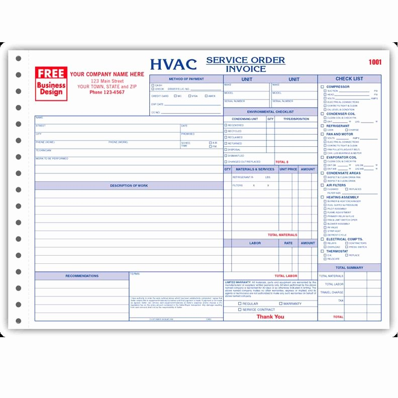 Hvac Service order Invoice Template Awesome Hvac Contractor Invoice form Custom form Printing