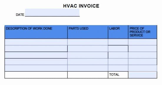 Hvac Service order Invoice Template Awesome Template for Hvac Invoices