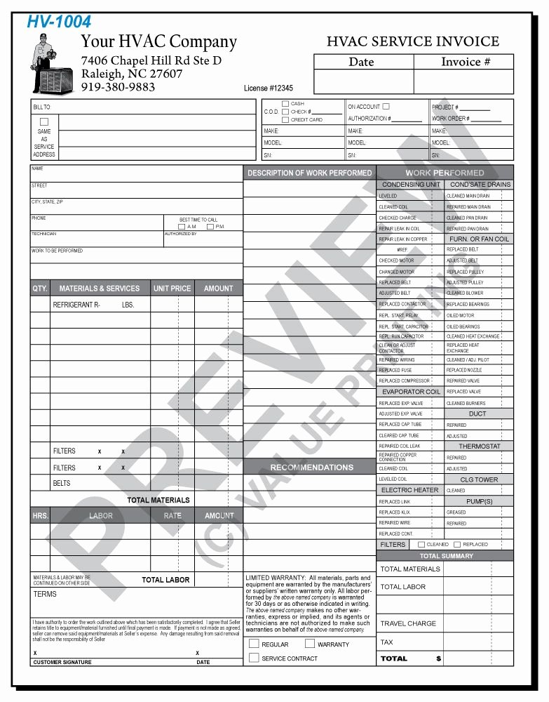 Hvac Service order Invoice Template Beautiful Hv 1004 Hvac Time & Materials Work order Invoice 2