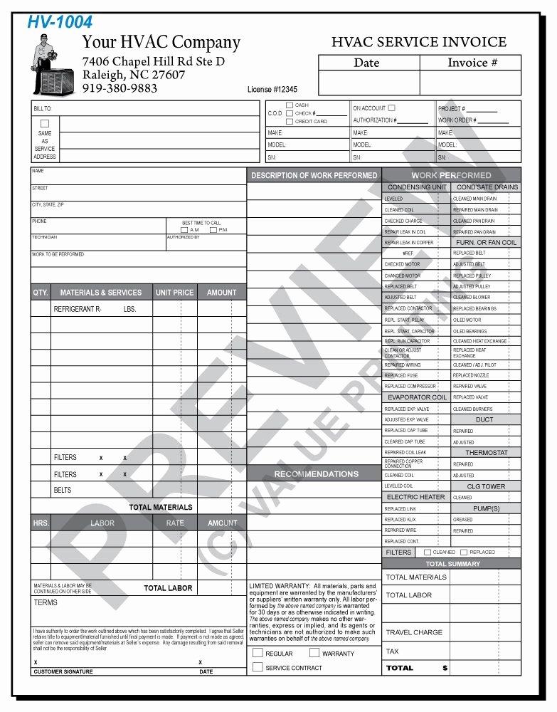 Hvac Service order Invoice Template Beautiful Hv 1004 Hvac Time & Materials Work order Invoice 2