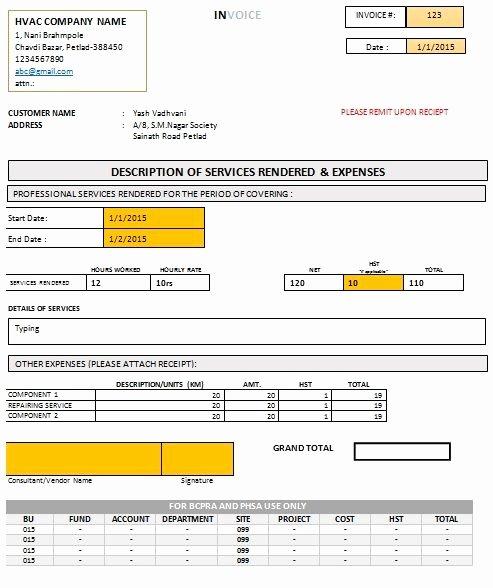 Hvac Service order Invoice Template Beautiful Hvac Invoice form Free Download