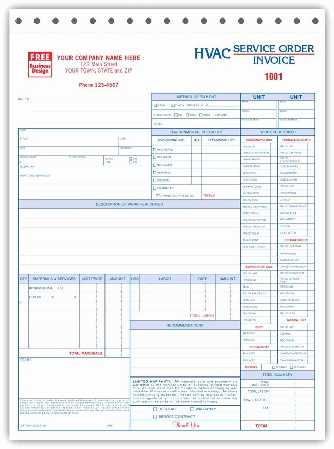 Hvac Service order Invoice Template Best Of Free Invoice forms Hvac