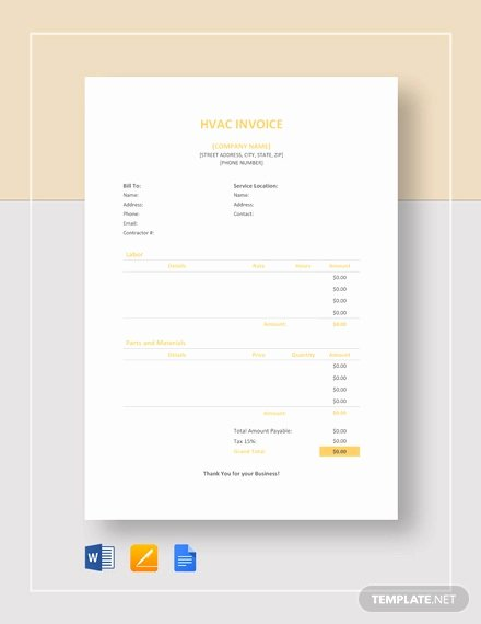 Hvac Service order Invoice Template Fresh Hvac Invoice Template 7 Free Word Excel Pdf format