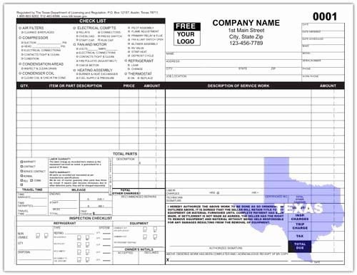 Hvac Service order Invoice Template Inspirational Texas Hvac Service Invoice form