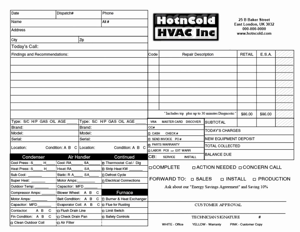 Hvac Service order Invoice Template Lovely Heating & Air Invoice form Samples Wilson Printing