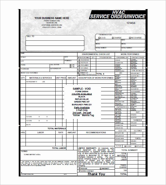 Hvac Service order Invoice Template Lovely Hvac Invoice Template 7 Free Word Excel Pdf format