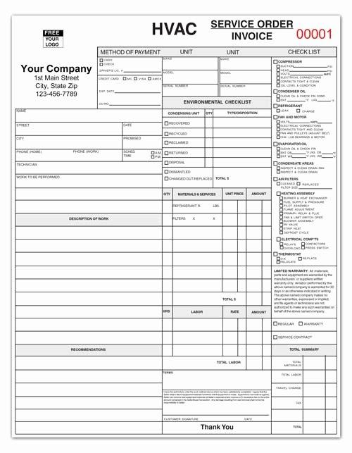 Hvac Service order Invoice Template Lovely Hvac Service Repair Ticket