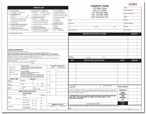 Hvac Service order Invoice Template Luxury Hvac form In 2019 Business